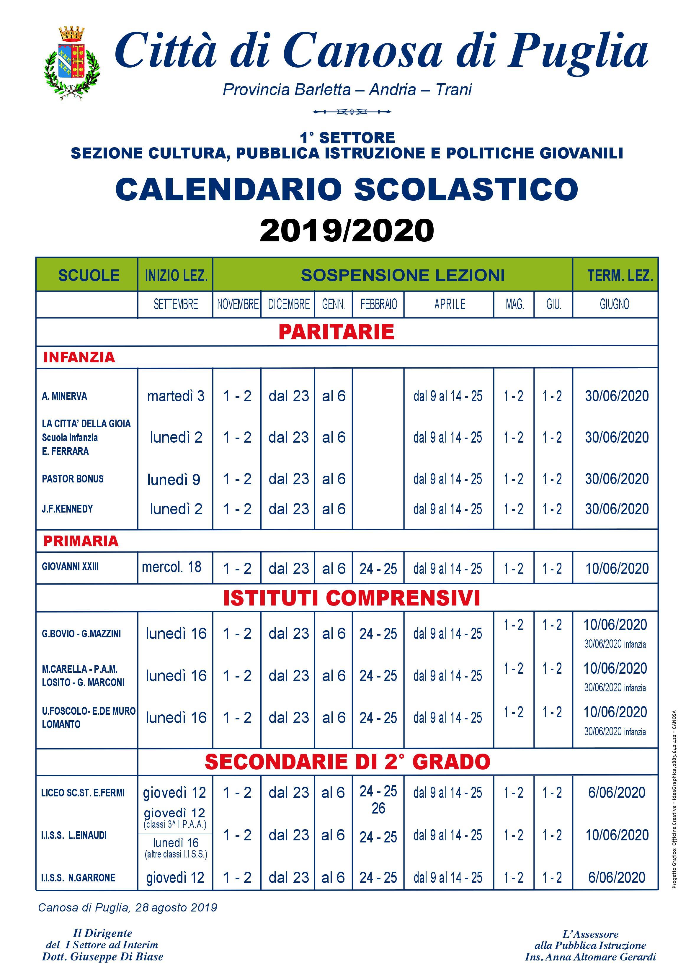 Calendario Scolastico 2020 20.Al Via Il Nuovo Anno Scolastico Comune Di Canosa Di Puglia