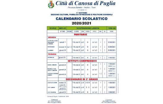 Calendario Scolastico 2020 2021 | Comune di Canosa di Puglia